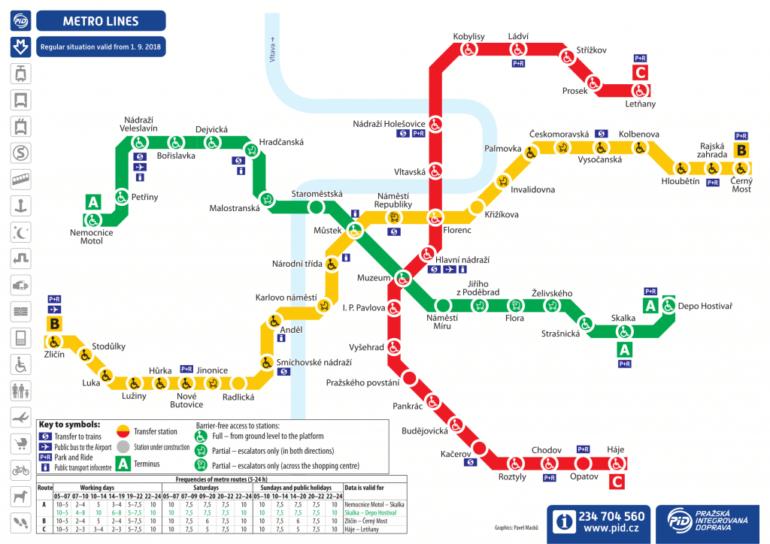 Карта метро Праги 2019